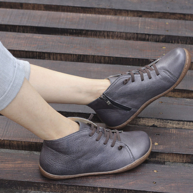 (35-46)Boots Women Shoes Hand-made Genuine Leather Ankle Boots for Women Square toe Zip Ladies Boots Female Footwear (K03)