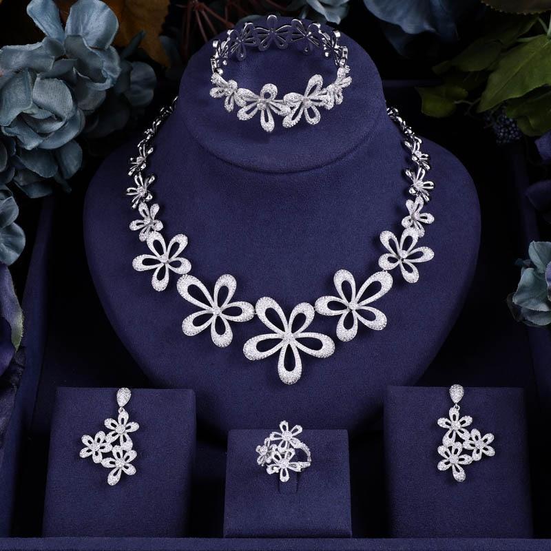 Earrings Jewelry-Sets Wedding-Necklace Janeklly Flower Pendientes Women Accessories Bridal