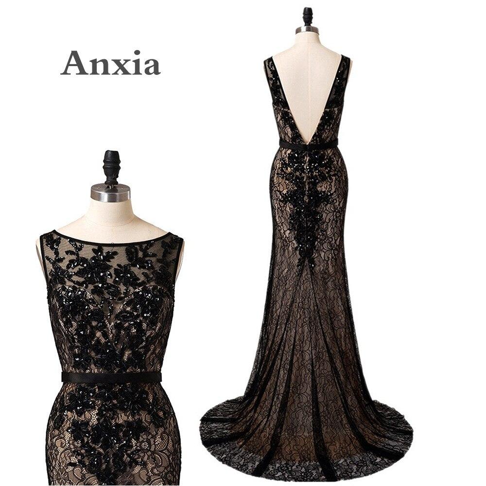 Новое поступление черный глубокий V назад русалка длинные кружевные вечерние платья 2017 robe de soiree элегантные вечерние платья вечерние платья