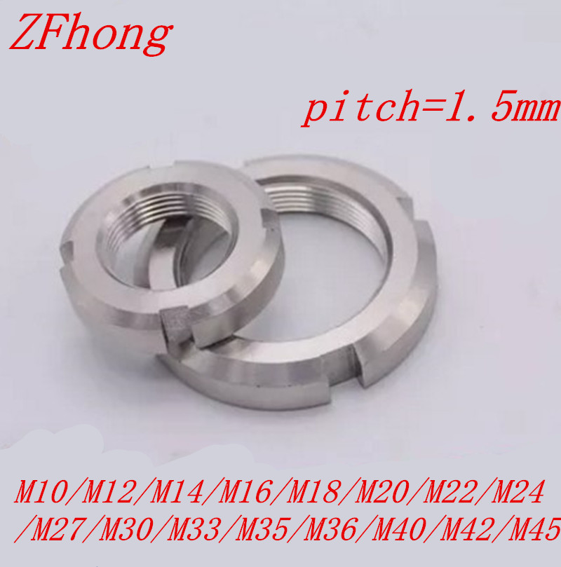 2pcs/lot stainless steel fine thread slotted nut retaining nut M10/M12/M14/M16/M18/M20/M22/M24 /M27/M30/M33/M35/M36/M40/M42/M45 2pcs/lot stainless steel fine thread slotted nut retaining nut M10/M12/M14/M16/M18/M20/M22/M24 /M27/M30/M33/M35/M36/M40/M42/M45