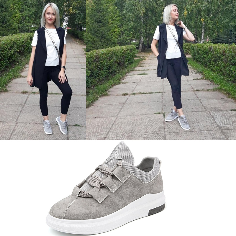 Fujin Brand 2019 Ladies Shoes Platform Shoes Sneakers Women Autumn Shoes  For Women Flats Lace Up Breathable Sport Casual #5