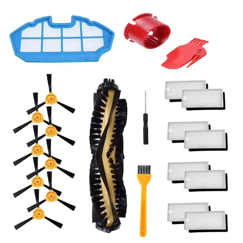 Accessories Kit For Ecovacs Deebot N79S Deebot N79 Robotic Vacuum Replacement  1 Main Brush  8 Filters  8 Side Brushes  1 Prim|Vacuum Cleaner Parts| |  - title=