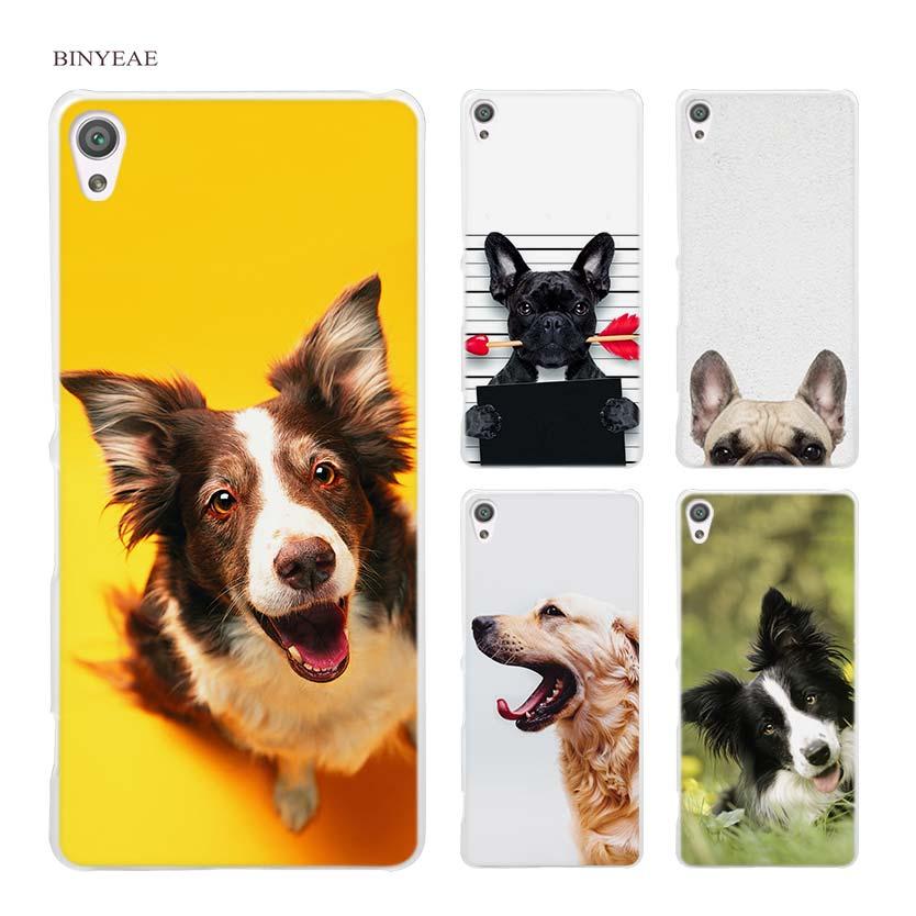 BINYEAE French bulldog border collie terrier dog Hard Clear Case Cover for Sony Xperia XA XA1 X M4 Aqua M5 E4 E5 Z5 Z3 Z2 Z1