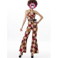 FREE SHIPPING Ladies 60s 70s Retro Hippie Go Go Girl Disco Costume Hen Xmas Party Jumpsuits For Women