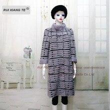 Women fur coats  genuine mink coat with rex rabbit jacket of knitted wool lining RuiXiangTe