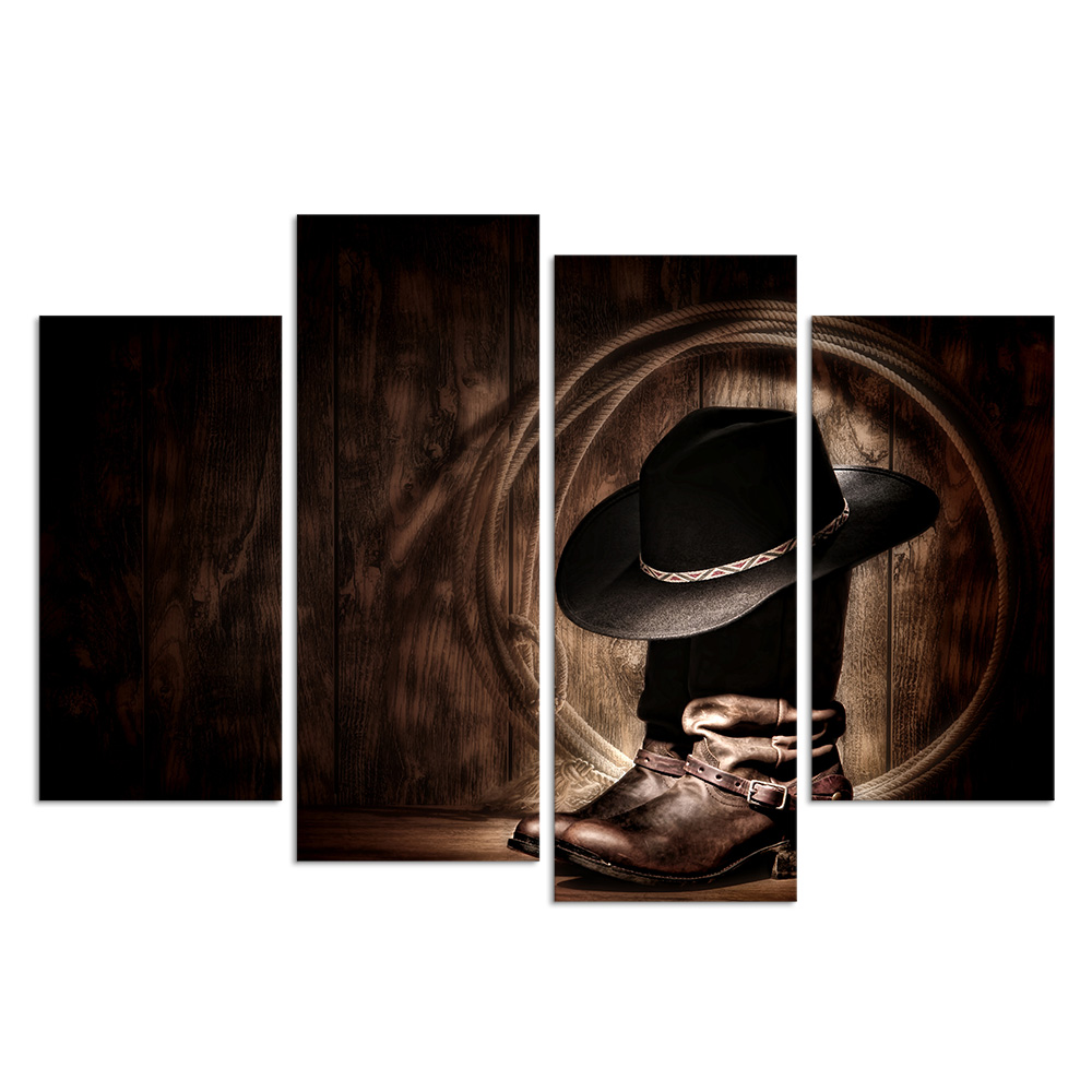 HD Printed 4 Piece Canvas Prints Cowboy Hat and Boots American West Rodeo Elements Canvas Wall Art Giclee Prints