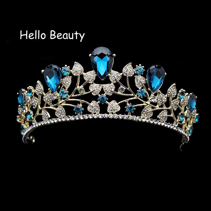 Classic Blue Crystal Wedding Hair Accessories Leaf Rhinestone Prom Crown Bridal Pageant Tiaras Bridesmaid Hair Jewelry