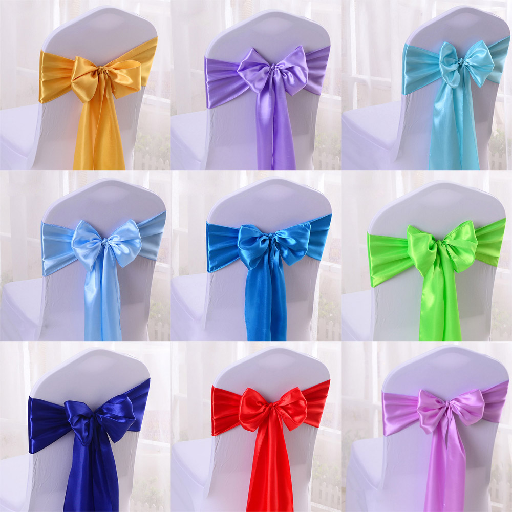 25pcs Satin Bow Tie Chair Sash Bands For Hotel Banquet Wedding Party Decoration Red/Blue/Yellow Multi Color 16*275cm