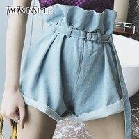 TWOTWINSTYLE Ruffle High Waist Denim Shorts Female Lace up Women Wide Leg Short Jeans Casual Clothes Korean 2018 Summer Fashion