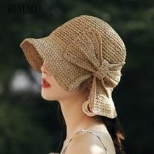 RUHAO Women Summer Beach Elegant Sun Hat Floppy Brim Foldable Panama Chapeau Femme Wide Brim Bowknot Straw visors hat curly brim pompon bowknot embellished pillbox hat