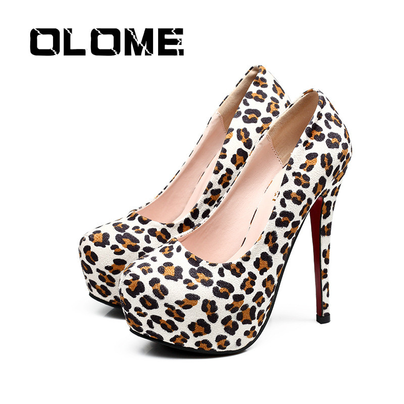 Autumn Sexy Leopard Women Shoes High Heels 13cm Elegant Office Pumps Shoes Women Animal Print Round Head Luxury Singles Shoes