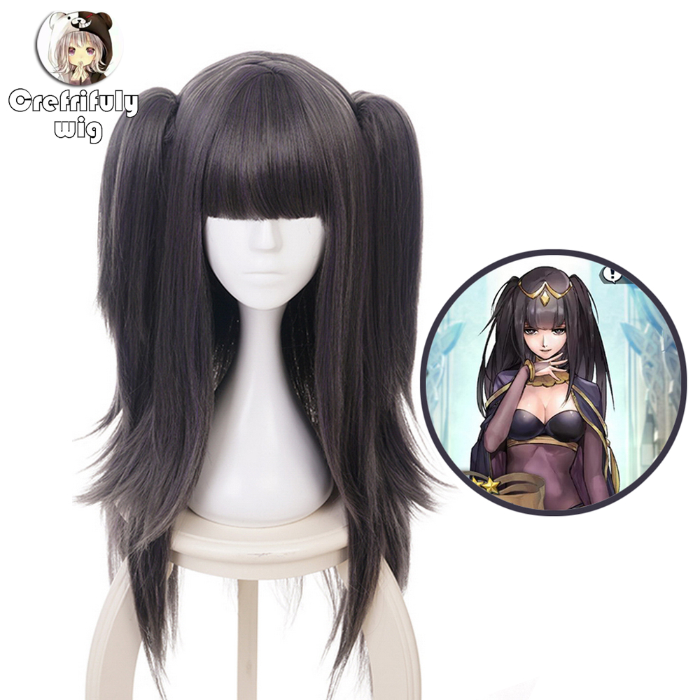 Fire Emblem Awakening Tharja Women Two Black Ponytail Wig Cosplay Costume Heat Resistant Synthetic Hair Long Party Wigs