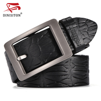 DINISITON Men S Crocodile Skin Printed Belts For Man Vintage Belt For Men Luxury Cow Genuine