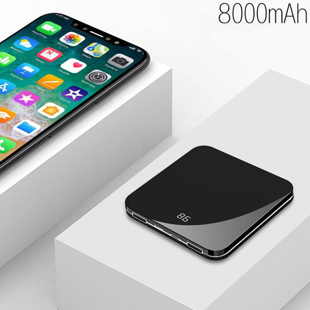wireless Mini Power Bank 8000mah Thin Mirror Screen 2.1A Fast Charging wireless Portable Charger Powerbank  for iphone xiaomi 3