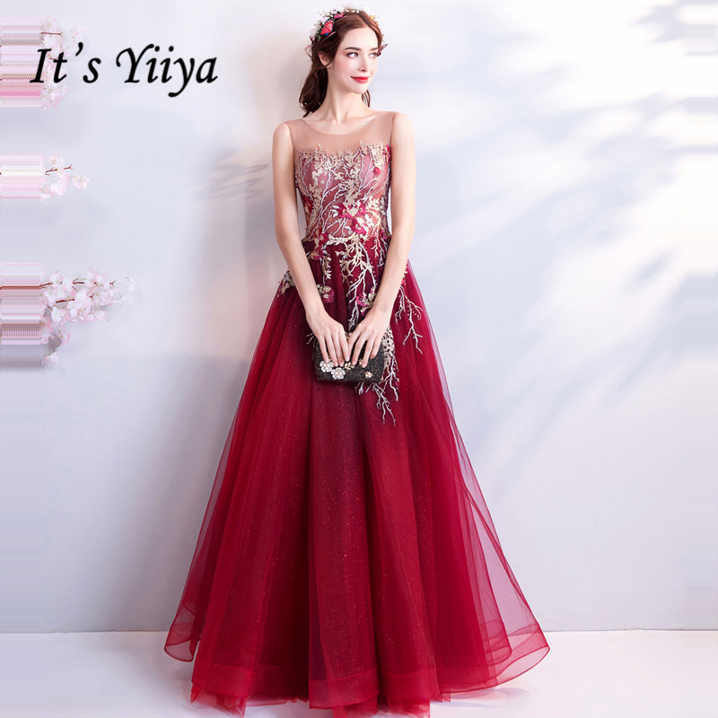 It s YiiYa Wine Red Evening Dress O-neck Crystal Sleeveless Illusion A-line  Party 611c86e8ad18