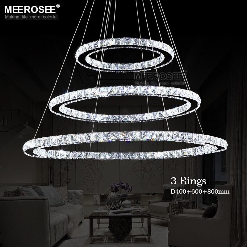 Hot sale Diamond Ring LED Crystal Pendant Light Modern LED Lighting Circles Hanging Lamp 100 Guarantee