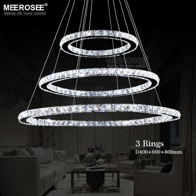 MEEROSEE Diamond Ring Crystal Pendant Light Modern LED Circles Hanging Lamp 100%