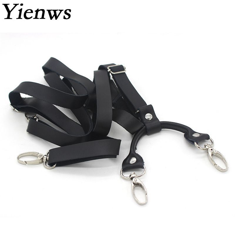 Yienws Mens Braces for Trousers Black Leather Suspenders Man for Pants Retro Hook Suspenders Suspensorio Adulto Tirantes YiA140