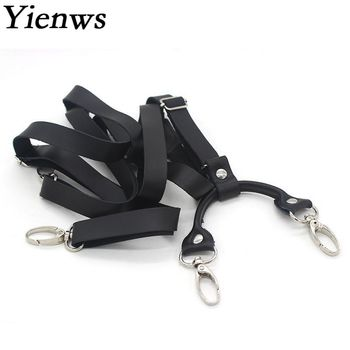 deepeel 1pc 2 5x75cm retro children s suspenders 3 clip strap braces for trousers pu leather suspenders leather decoration sp010 Yienws Mens Braces for Trousers Black Leather Suspenders Man for Pants Retro Hook Suspenders Suspensorio Adulto Tirantes YiA140