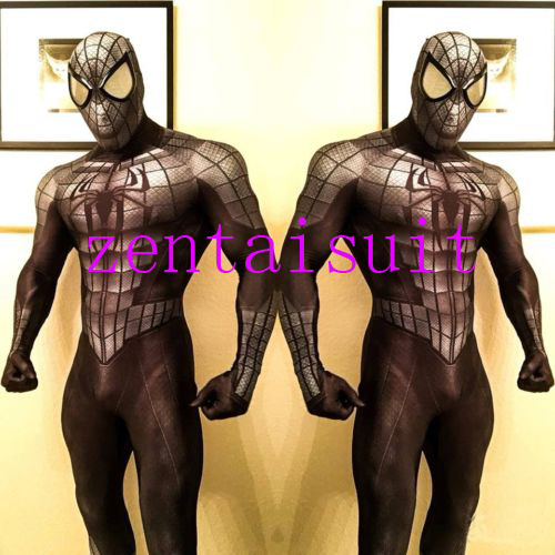 black spiderman superhero costume cosplay halloween fullbody male spider man superhero costumes zentai suit for Adult