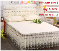 Pure Color 3pcs Lace edge Bedspread set Princess bed cover and Pillowcase hot sale Mattress protect bed cover Home Textile