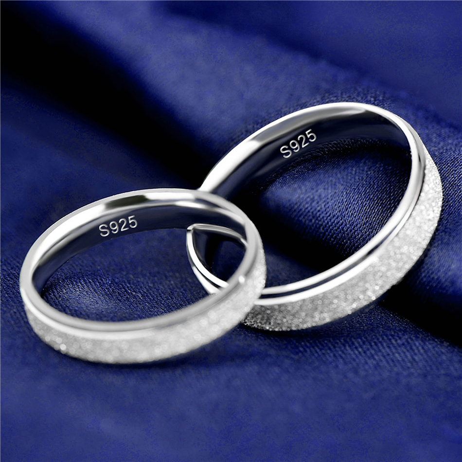 HTB1dBFknNrI8KJjy0Fpq6z5hVXa5 925 Sterling Silver Rings Woman Fashion Simple Couple Matte Rings Charming Female Lovers Jewelry