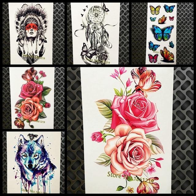 Kecantikan Wanita Desain Palsu Tahan Air Flash Tattoo Stiker