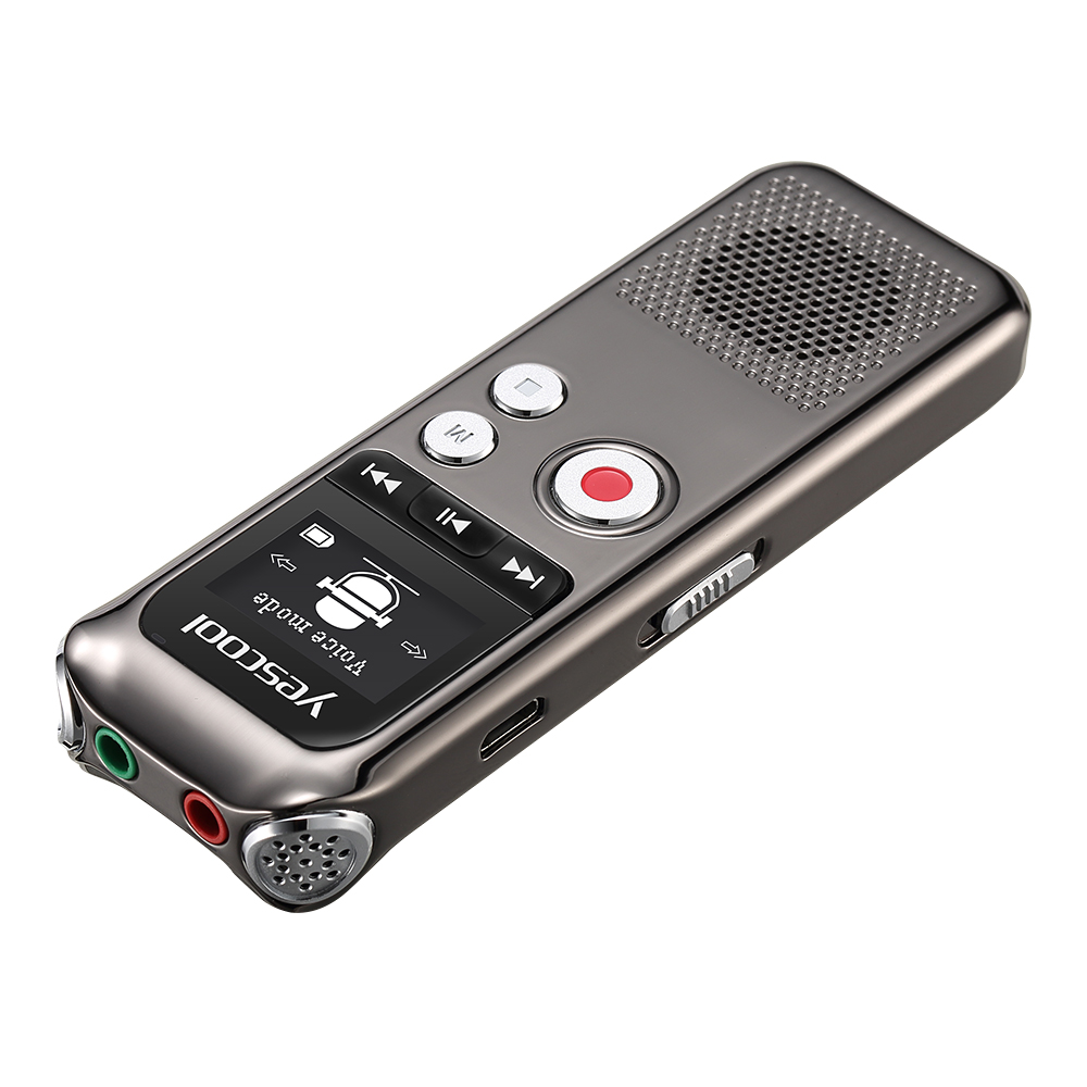 Yescool recharge rapide 8 GB Microphone bidirectionnel professionnel enregistreur vocal numérique Dictaphone espia enregistreur audio lecteur MP3 - 4