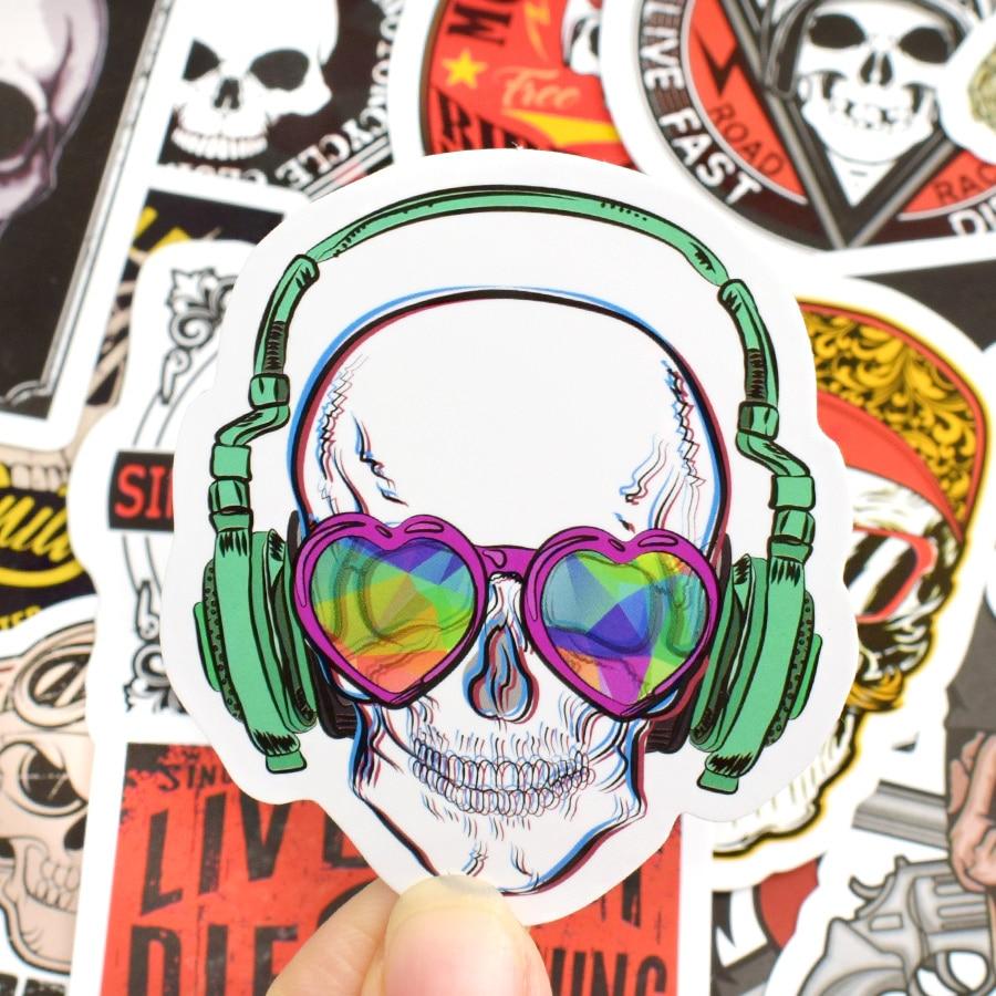 50 pcs tengkorak stiker graffiti kerangka hantu punk rock sepeda motor stiker mainan diy laptop skateboard koper helm gitar mobil di stiker dari mainan