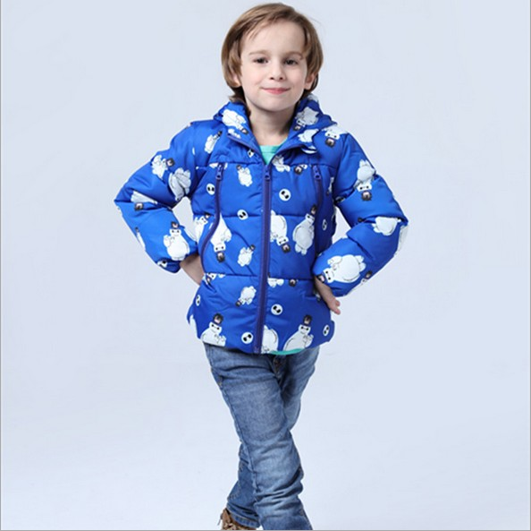 2016 new children's print down jacket unisex hooded fashion for boys and girls