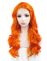 Imstyle Body Wave Drag queen cosplay wigs 24 inches orange synthetic hair Lace Front Wig for women