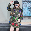 [soonyour] 2017 autumn and winter new flowers sequins zipper loose plus size washing water camouflage jacket female tide HA06756