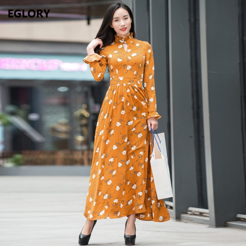 Prairie Chic Women Long Dress New Style 2018 Spring Summer Female White Floral Print Long Sleeve Maxi Dress Orange XXXL Big Size