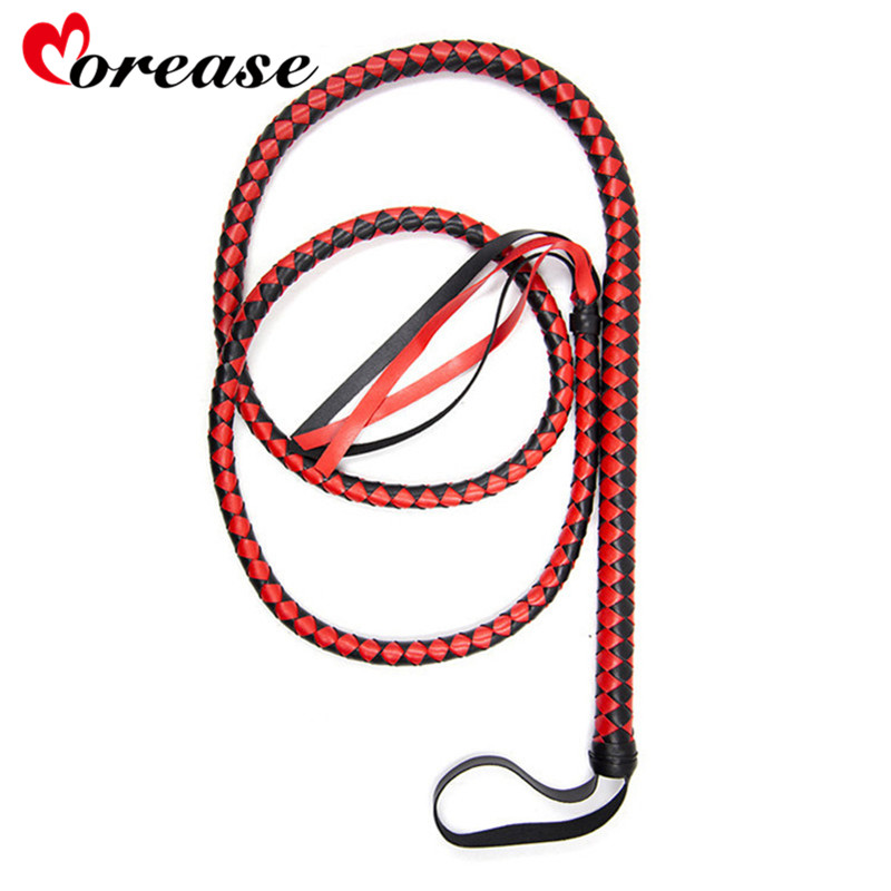 Morease BDSM Whip Bondage Adult Sex Toys For Couples Long Leather Spanking Paddle Adult Game Erotic SM Toy Flogger Riding Crop