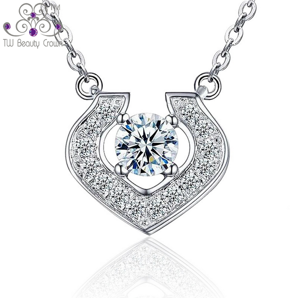 Real 925 Sterling Silver Carat Lovers Simulated Diamond White Cubic Zirconia Love Heart Charm Pendant Necklace