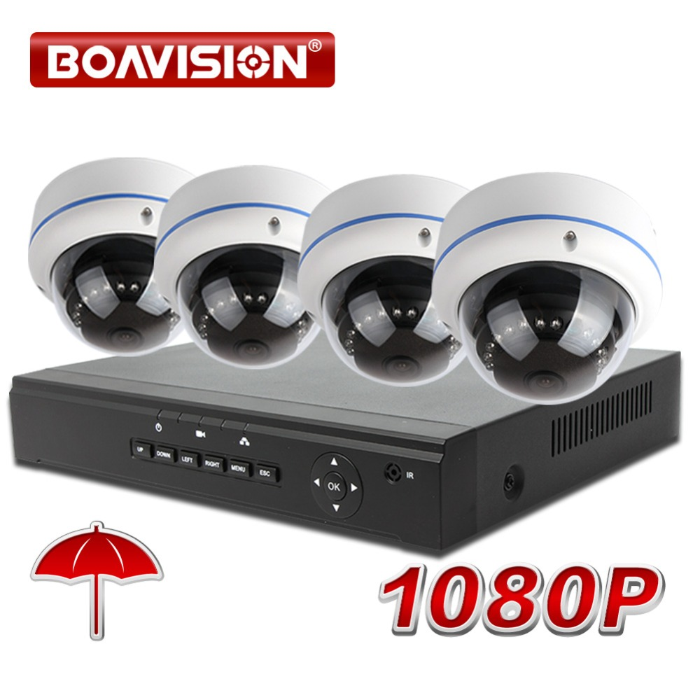 1080P 4CH NVR System Kit Outdoor Weatherproof Dome 2MP IP Camera POE NVR Surveillance CCTV System Real-time Recording P2P,Onvif цена