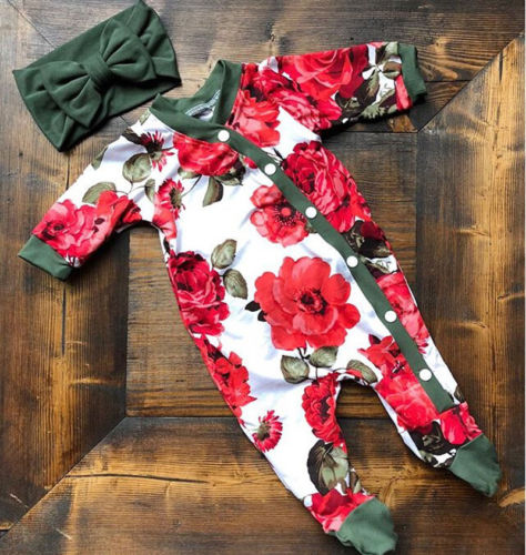 Baby Kids Girl  Clothes Infant Button Floral Bodysuit  Long Sleeve  Jumpsuit Bodysuit Clothes Outfits