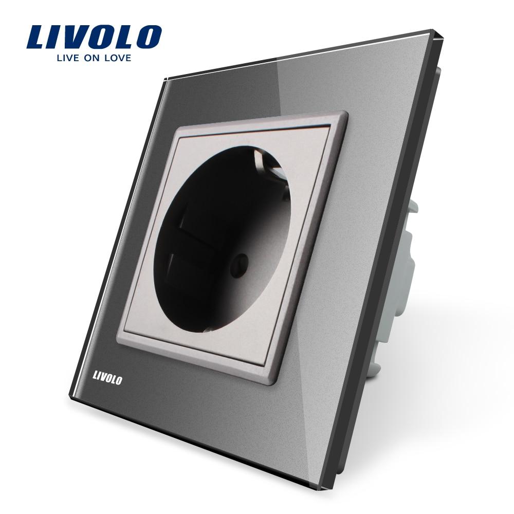 Livolo EU Standard Universal Wall Electrical European 2pins Power Socket Outlet,Crystal Glass Panel,110~250V ,plastic 16A Socket