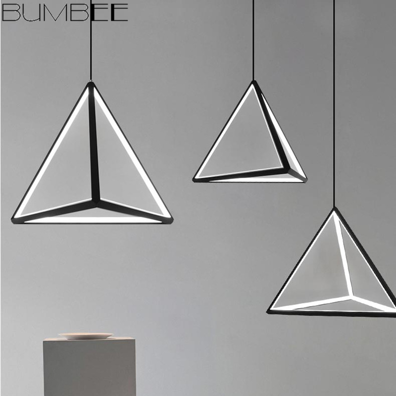 Modern Geometry Triangle Pendant Light Nordic Dimmable Black Led Hanging Lamp Suspension Luminaire Living Room Pendant Lamparass