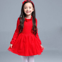 Autumn Spring Children S Clothes Red Pink Purple Color Girls Dress Long Sleeve Princess Tutu Dress