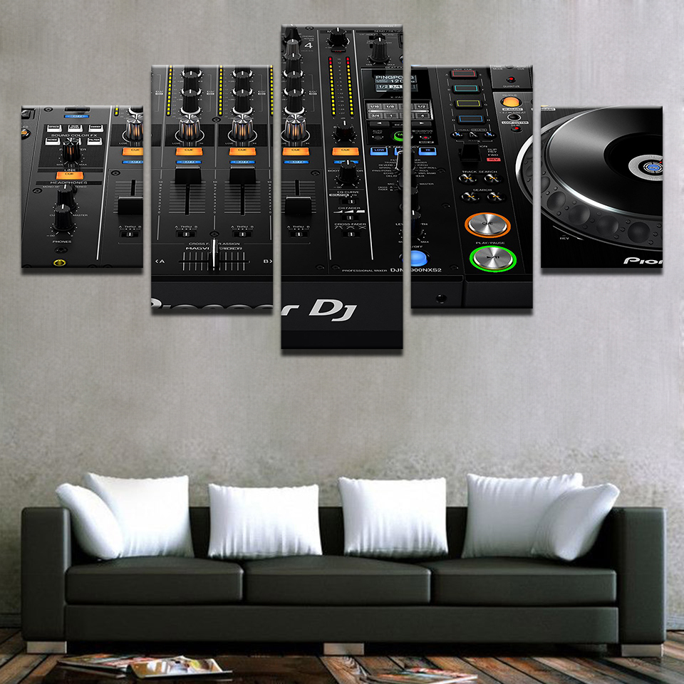 Wall Art Home Decor Prints Framework 5 Pieces Music DJ Console Instrument Mixer Paintings Night Club Bar Poster Canvas Pictures
