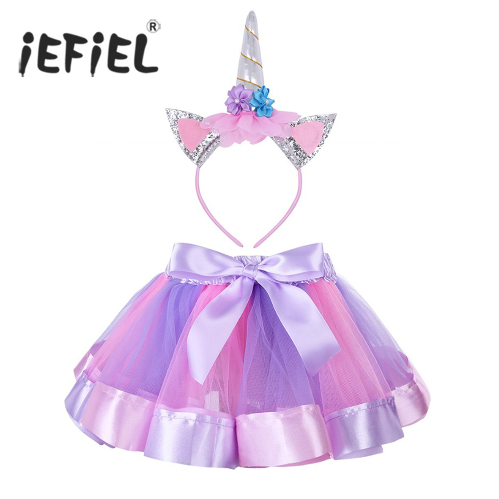 iEFiEL Kids Girls Ruffled Tutu Skirt with Hair Hoop Set for Ballet Dance Party Costume Ballerina Gymnastics Leotard Dance Skirt