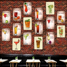 Cocktail Tin Signs Drink Metal Plate  Wall Pub Shop Restaurant Cafe Home Art Decor Vintage Iron Poster Cuadros DU-1561