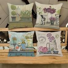 Plant Flower Decorative Pillow Cases For Couch Vintage Home Decor Cheap Floral Cushion Cover Nordic Decoration Homeware e673