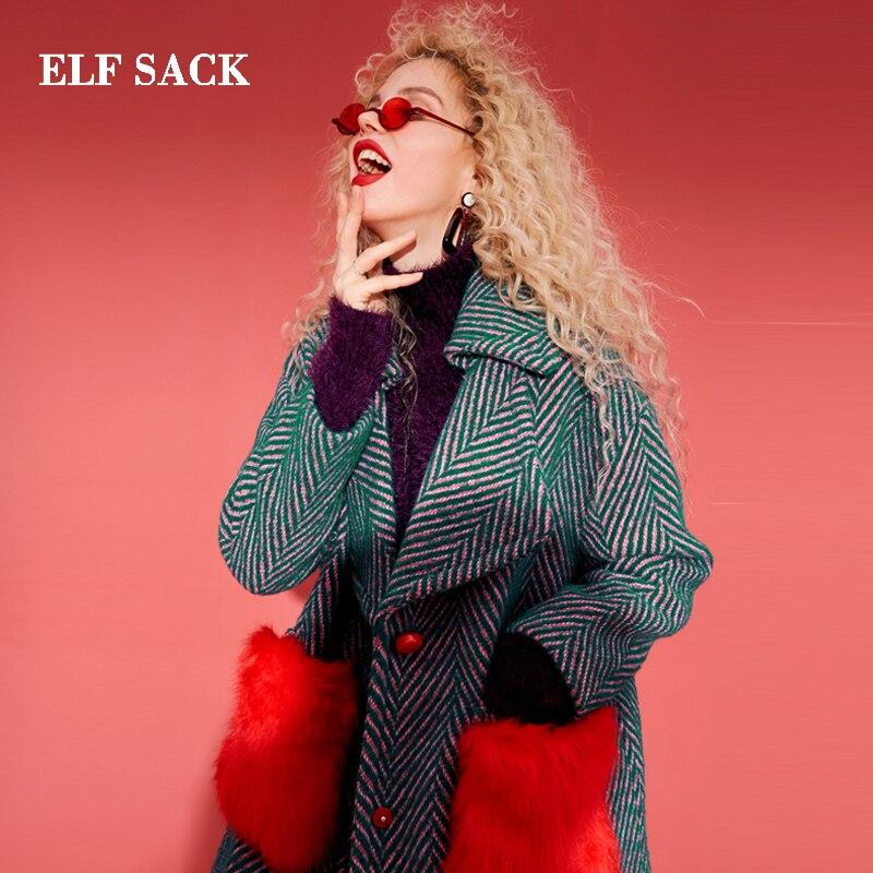 ELF SACK 35.8% Laine Manteaux Femmes Hiver Rouge Fourrure Poches Droite Femmes Manteaux Oversize Tournent Vers Le Bas Épais Rayé Laine manteaux