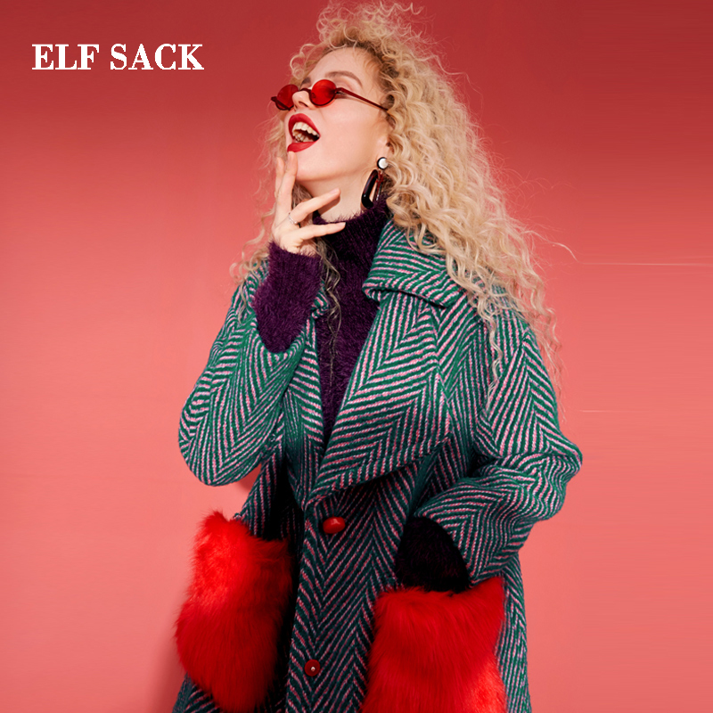 Elf Sack 35.8% Wool Coats Girls Winter Crimson Fur Pockets Straight Womens Coats Oversize Flip Down Collar Thick Striped Wool Coats