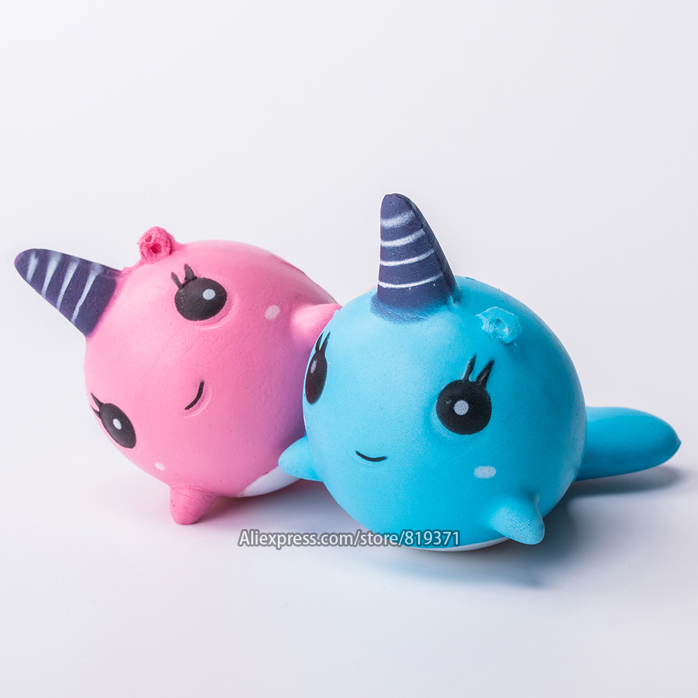 Squeezables Kawaii Whale Unicorn Squishy Slow Rising Cute Cartoon Straps Pendant Soft Squeeze Bread Cake Kids Toys For Children