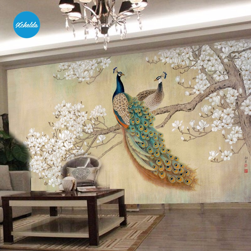XCHELDA 3D Mural Wallpapers Custom Painting Blue Peacock Design Background Bedroom Living Room Wall Murals Papel De Parede custom 3d wall murals wallpaper luxury silk diamond home decoration wall art mural painting living room bedroom papel de parede
