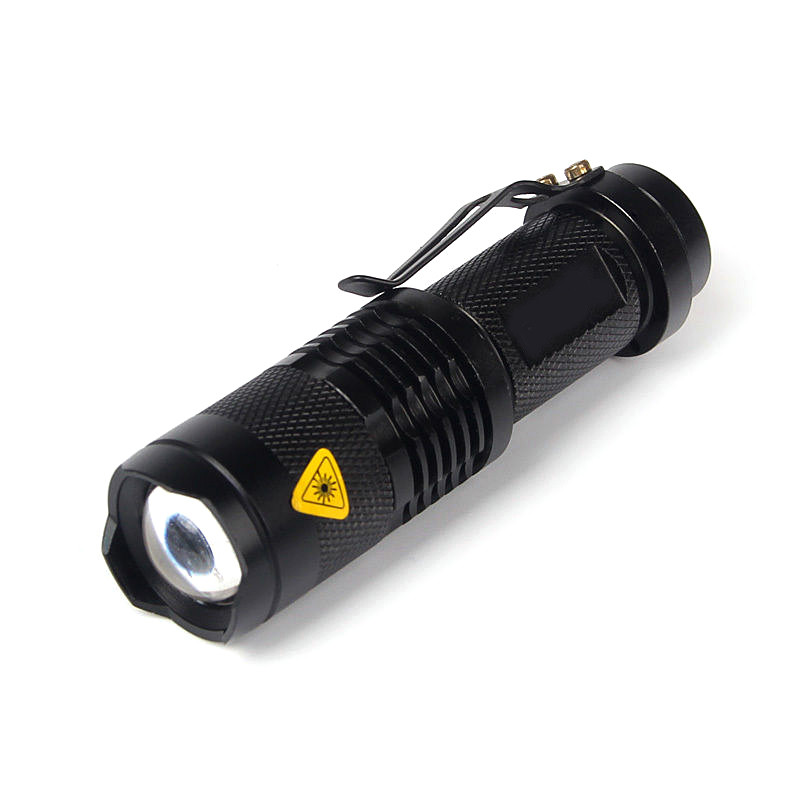 3Modes Q5 Led Flashlight Torch 7W Mini Black 1200Lm By 14500 Battery Zoomable Torch Light LED