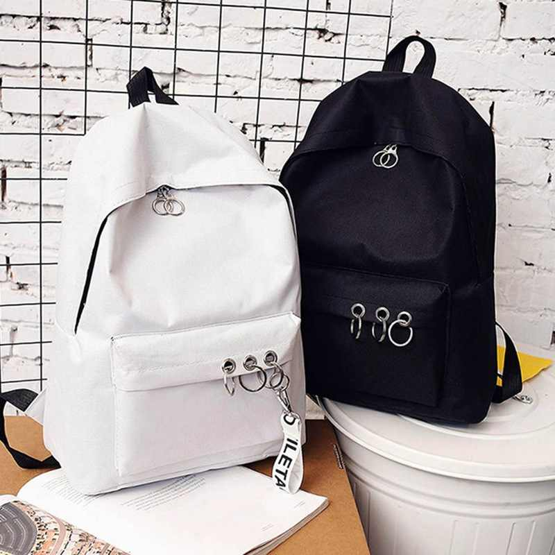 2019 Korean Trendy Style Black Pink White Backpack For Women Solid Zipper Ring Decoration Female  Free Shipping